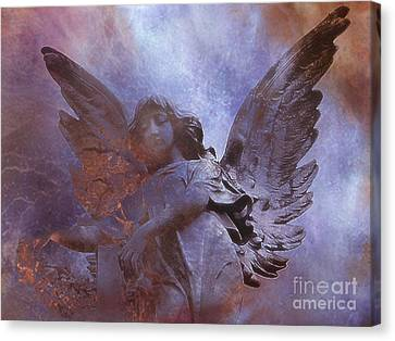 Dreamy Surreal Angel Art - Ethereal Angel Celestial Purple And Bronze Heavenly Angel Art Canvas Print by Kathy Fornal