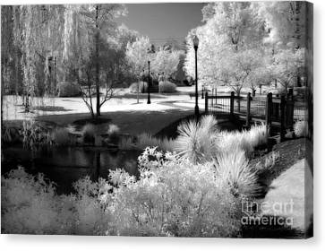 Dreamy Surreal Black White Infrared Landscape Canvas Print by Kathy Fornal