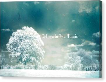 Dreamy Surreal Ethereal Infrared Inspirational Nature Photography - Aqua Mint Turquoise Nature Trees Canvas Print