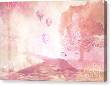 Dreamy Surreal Fantasy Fairytale Pastel Hot Air Balloons Dreamland Nature Fantasy Art Canvas Print