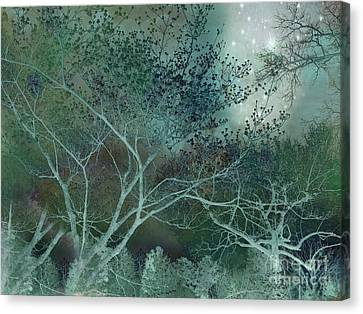 Dreamy Surreal Fantasy Teal Aqua Trees Nature  Canvas Print by Kathy Fornal