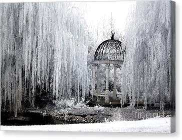 Nature Scene Canvas Print - Dreamy Surreal Infrared Nature Ethereal Trees With Gazebo  by Kathy Fornal