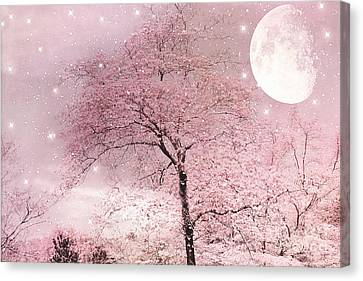 Dreamy Surreal Pink Fairytale Nature Trees Moon And Stars - Shabby Chic Pastel Pink Fairytale Nature Canvas Print by Kathy Fornal