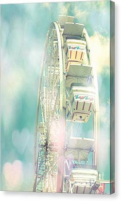 Dreamy Teal Aqua Yellow Ferris Wheel Carnival Art With Hearts  Canvas Print by Kathy Fornal