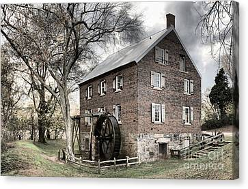Dreary Skies At Kerr Gristmill Canvas Print by Adam Jewell