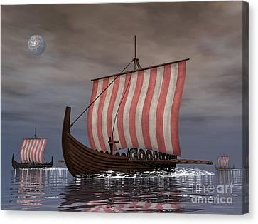 Drekar Viking Ships Navigating Canvas Print