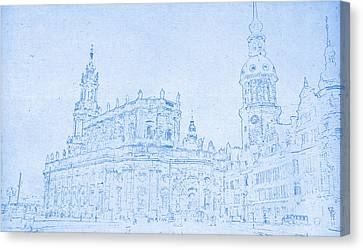Lincoln Park Lagoon Canvas Print - Dresden Germany Blueprint by Celestial Images