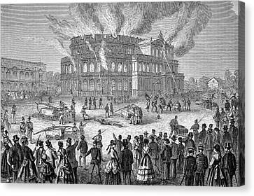 Dresden Opera House On Fire Canvas Print by Bildagentur-online/tschanz