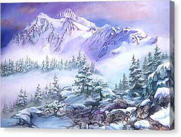 Canvas Print featuring the painting Dressed In White Mount Shuksan by Sherry Shipley