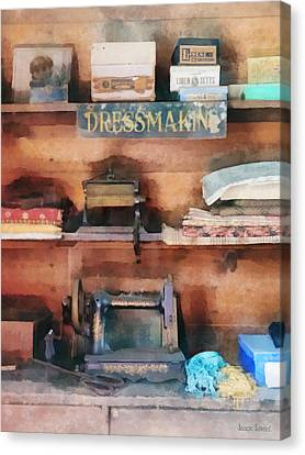 Dressmaking Supplies And Sewing Machine Canvas Print by Susan Savad