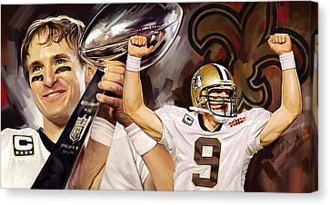 Drew Brees New Orleans Saints Quarterback Artwork Canvas Print by Sheraz A