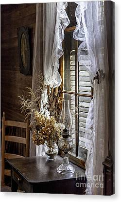 Dried Flowers And Oil Lamp Still Life Canvas Print by Lynn Palmer