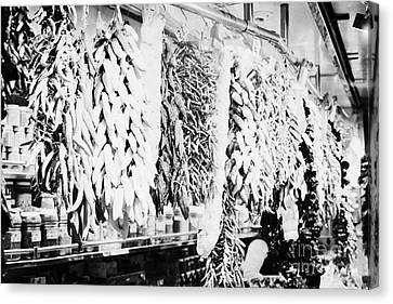 dried peppers and garlic hanging inside the la boqueria market in Barcelona Catalonia Spain Canvas Print by Joe Fox