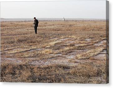 Dried Up Lake Bed From Drought Canvas Print by Ashley Cooper