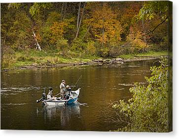 Drift Boat Fishermen On The Muskegon River Canvas Print by Randall Nyhof
