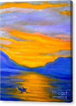 Drifting At Sunset Canvas Print by Nancy Rucker