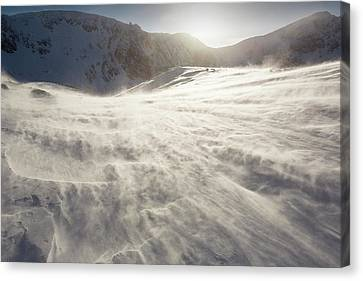 Drifting Snow In Cairngorm Canvas Print by Ashley Cooper
