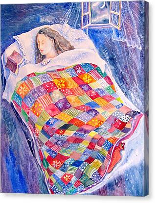 Canvas Print featuring the painting Drifting To Dreamland by Trudi Doyle