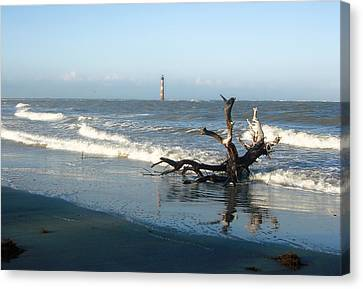 Canvas Print featuring the photograph Driftwood And Morris Island Lighthouse by Ellen Tully