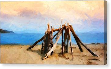 Driftwood Sculpture At Rincon Canvas Print by Ron Regalado