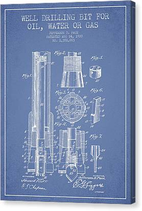 Drilling Bit For Oil Water Gas Patent From 1920 - Light Blue Canvas Print by Aged Pixel