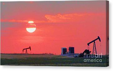 Canvas Print featuring the photograph Rising Full Moon In Oklahoma by Janette Boyd