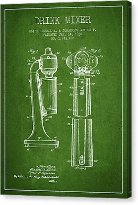 Drink Mixer Patent From 1930 - Green Canvas Print by Aged Pixel