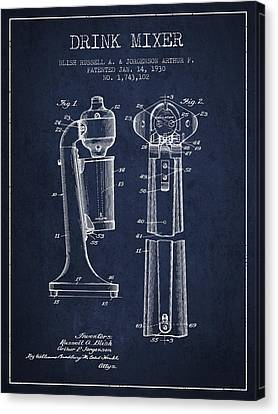 Drink Mixer Patent From 1930 - Navy Blue Canvas Print by Aged Pixel
