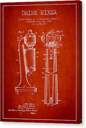 Drink Mixer Patent From 1930 - Red Canvas Print by Aged Pixel