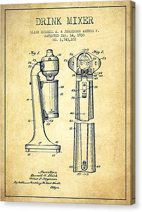 Drink Mixer Patent From 1930 - Vintage Canvas Print by Aged Pixel