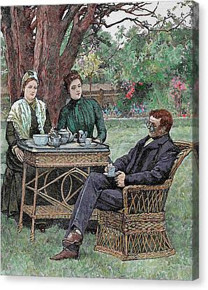 Drinking Coffee In The Garden Canvas Print by Prisma Archivo