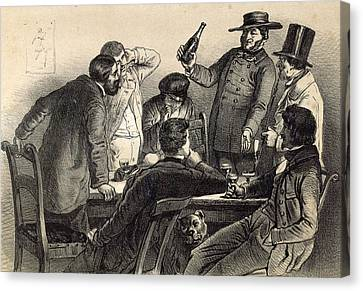 Drinking The Bottles In Germany, 19th Century Lithography Canvas Print by German School
