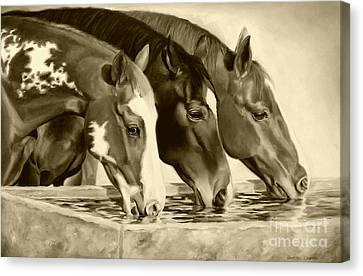 Drink'n Buddies Sepia Canvas Print