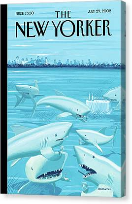 Fish Underwater Canvas Print - Drinks Before Dinner by Bruce McCall