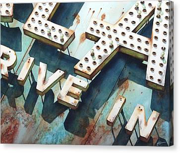 Drive In Canvas Print by Greg and Linda Halom