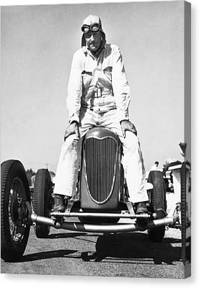 Driver And His Race Car Canvas Print by Underwood Archives