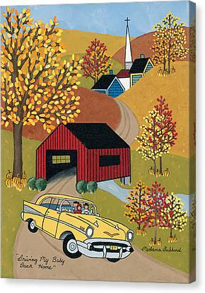 57 Chevy Canvas Print - Driving My Baby Back Home by Medana Gabbard