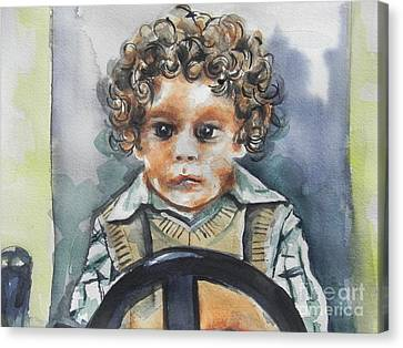 Driving The Taxi Canvas Print by Chrisann Ellis