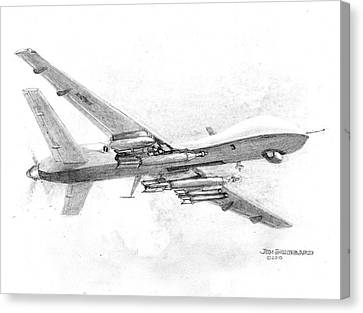 Canvas Print featuring the drawing Drone Mq-9 Reaper by Jim Hubbard