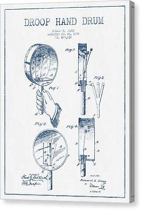 Droop Hand  Drum Patent Drawing From 1892 - Blue Ink Canvas Print by Aged Pixel