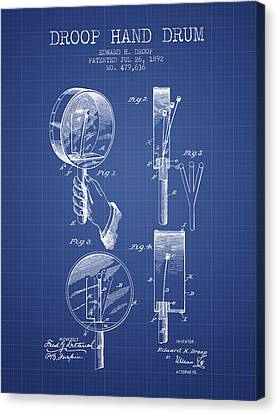 Droop Hand  Drum Patent From 1892  - Blueprint Canvas Print by Aged Pixel