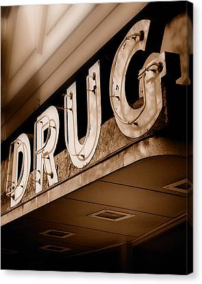 Drug Store Sign - Vintage Downtown Pharmacy Canvas Print by Steven Milner