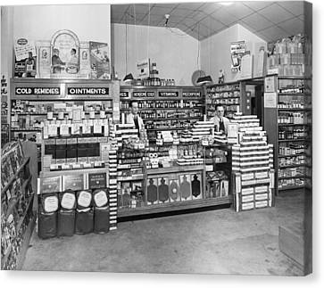 Drugstore Interior Canvas Print by Underwood Archives