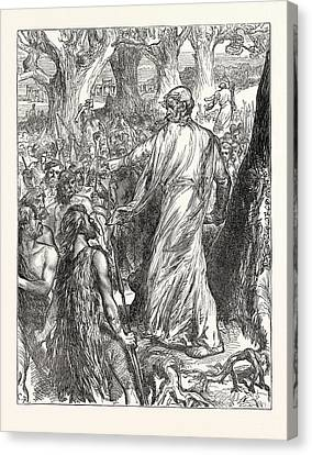 Druids Inciting The Britons To Oppose The Landing Canvas Print by English School