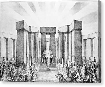 Druids Sacrificing To The Sun Canvas Print by Nathaniel Whittock