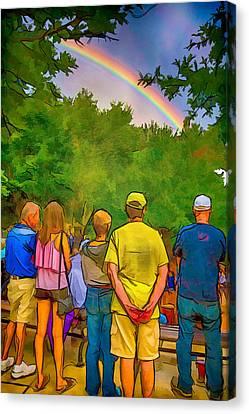 Drum Circle Rainbow Canvas Print