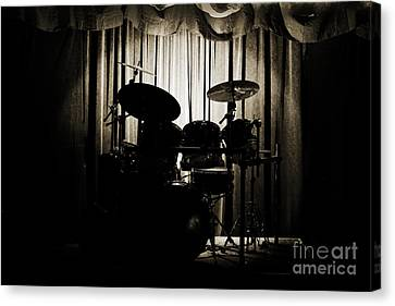 Drum Set On Stage Photograph Combo Jazz Sepia 3234.01 Canvas Print by M K  Miller