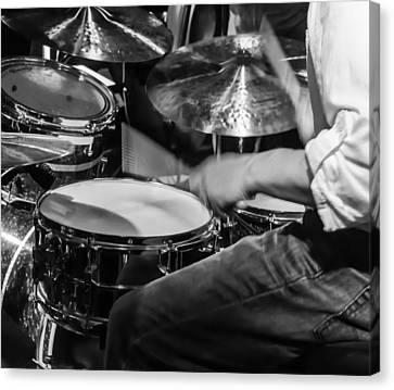 Drummer At Work Canvas Print