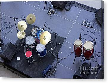 Drums Percussion And Monitors On Stage Canvas Print by Sami Sarkis