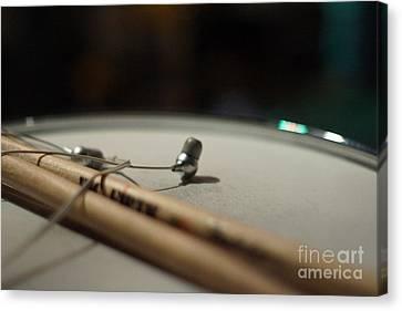Drumsticks And Ear Buds Canvas Print by Lynda Dawson-Youngclaus